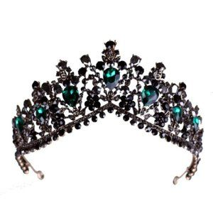 Green Black Rhinestone Bronze Tiara Crown GM0111